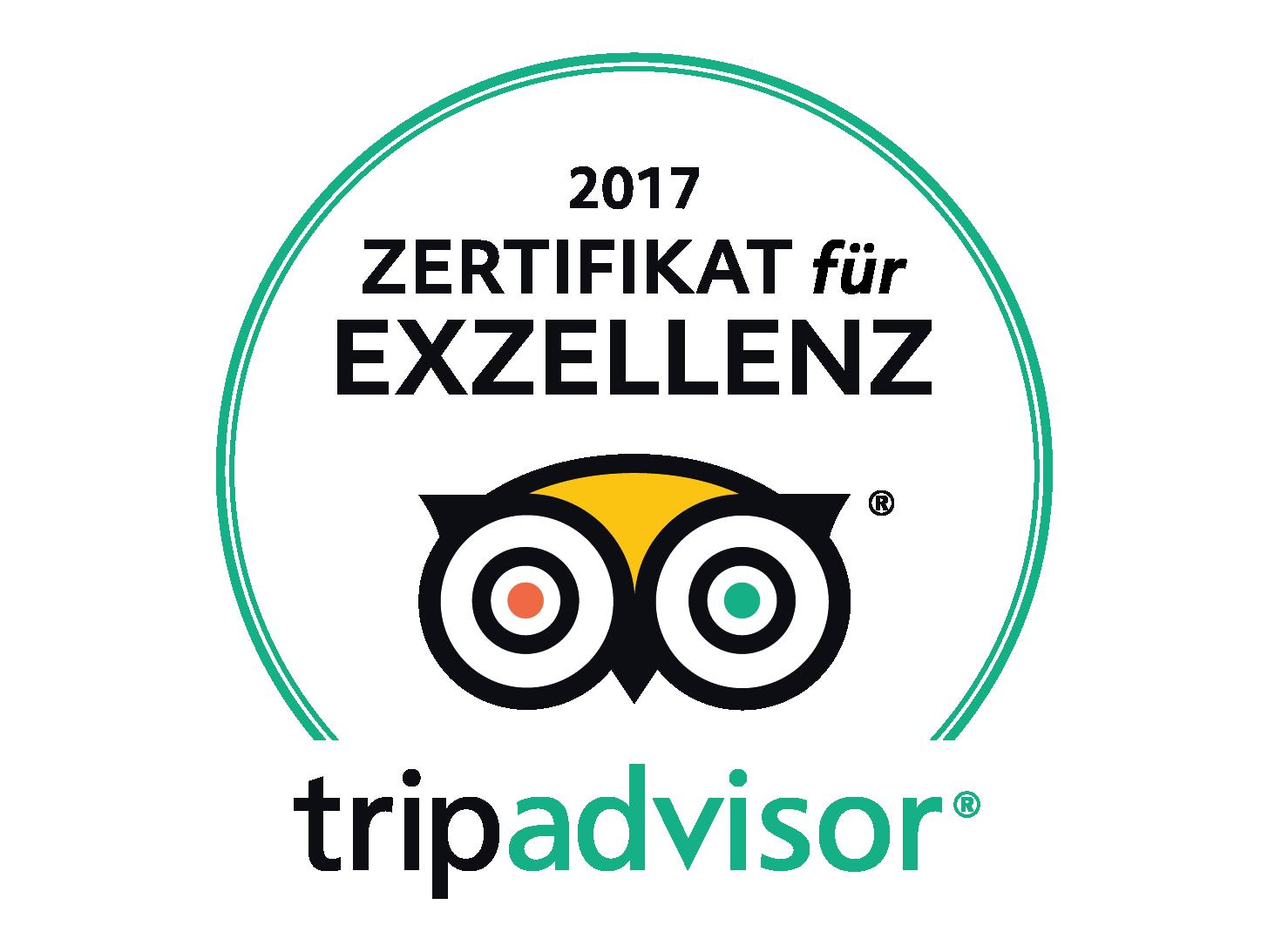 Trip Advisor Exzellenz Zertifikat 2017